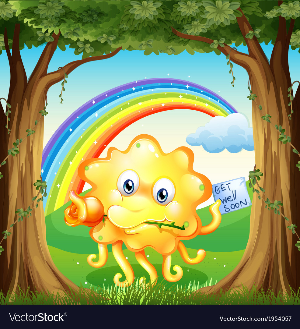 A monster with a get-well-soon card and a rainbow vector