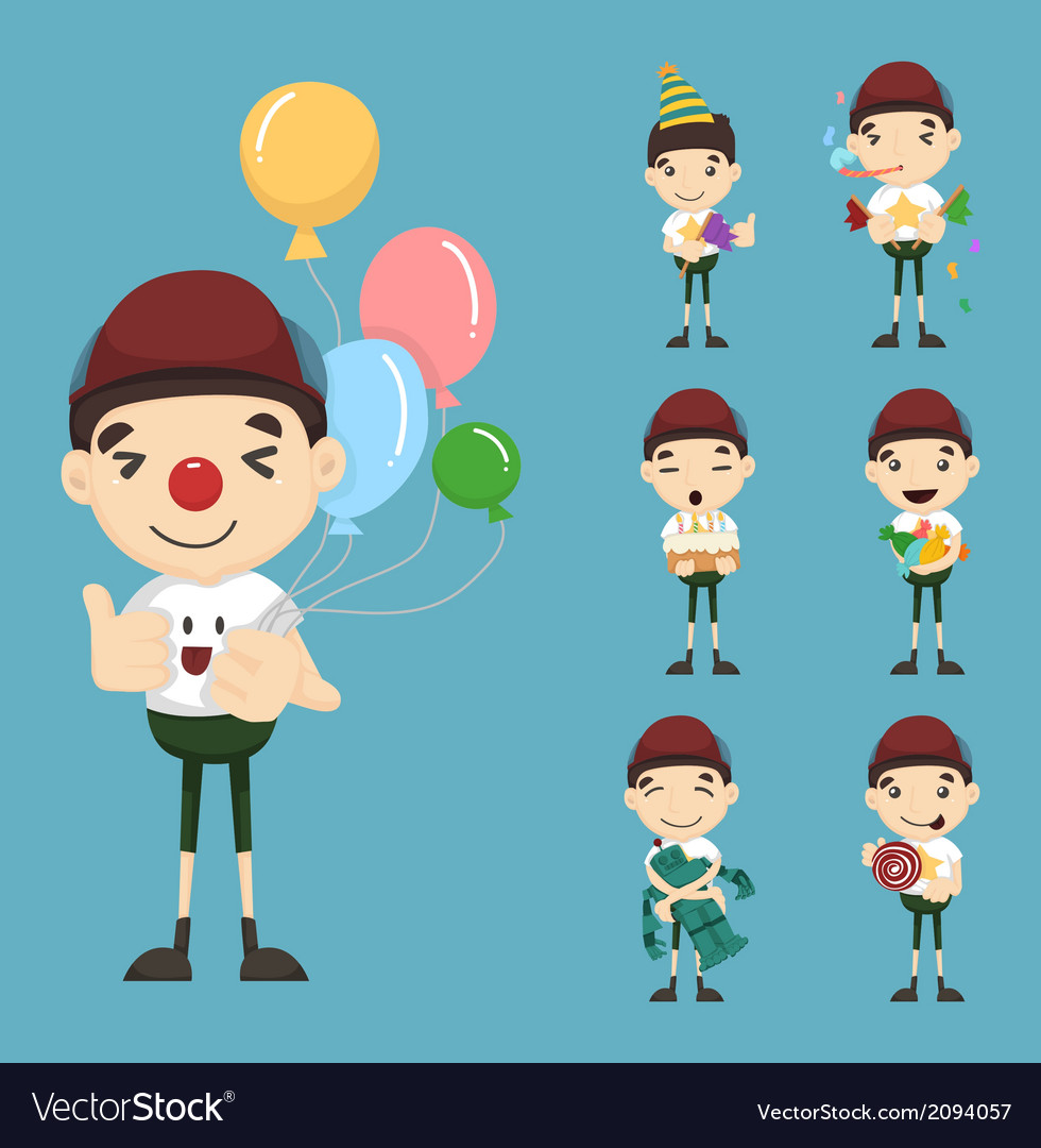 Set of boy birthday and celebration vector