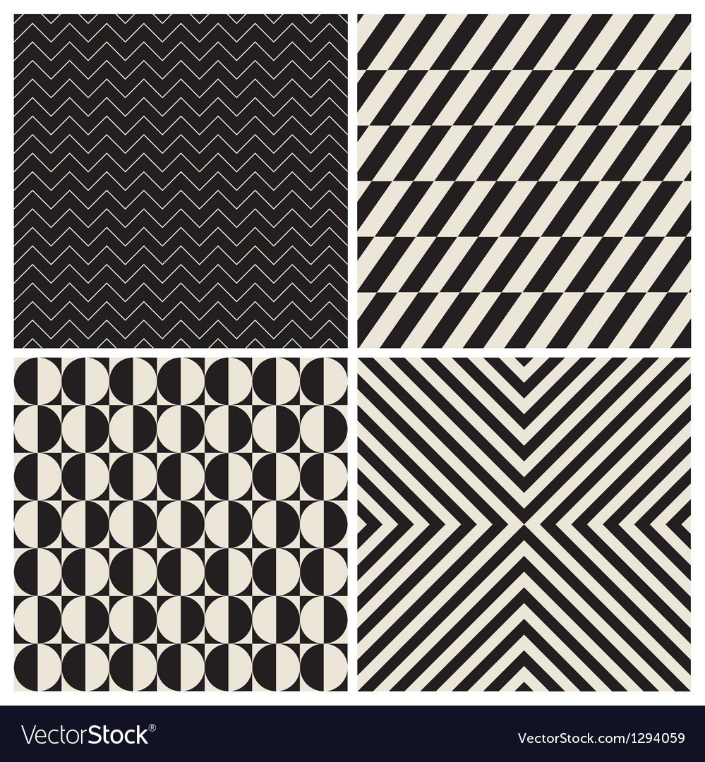 Pattern background set retro vintage vector