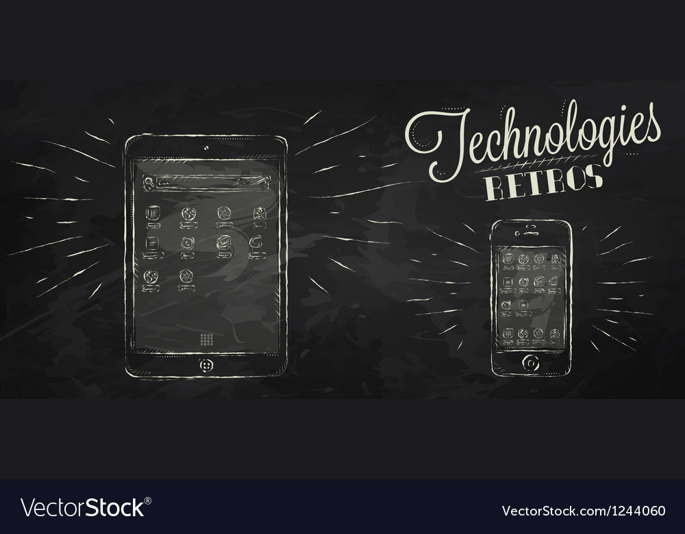 Ipad iphone chalk icons vector