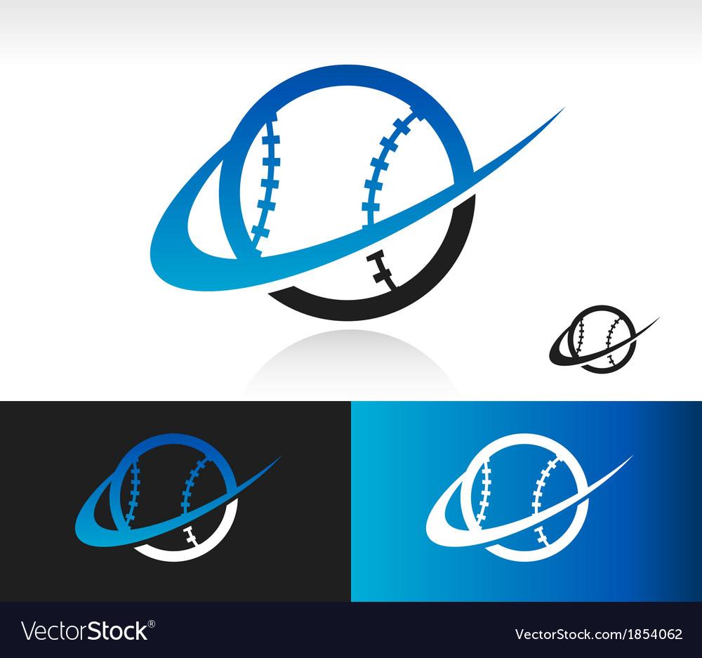 Swoosh baseball logo icon vector