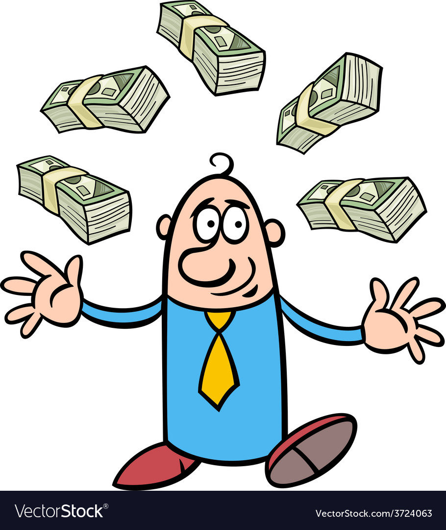 Happy rich businessman cartoon vector