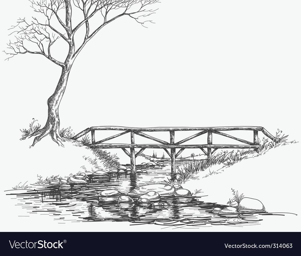 River bridge sketch vector
