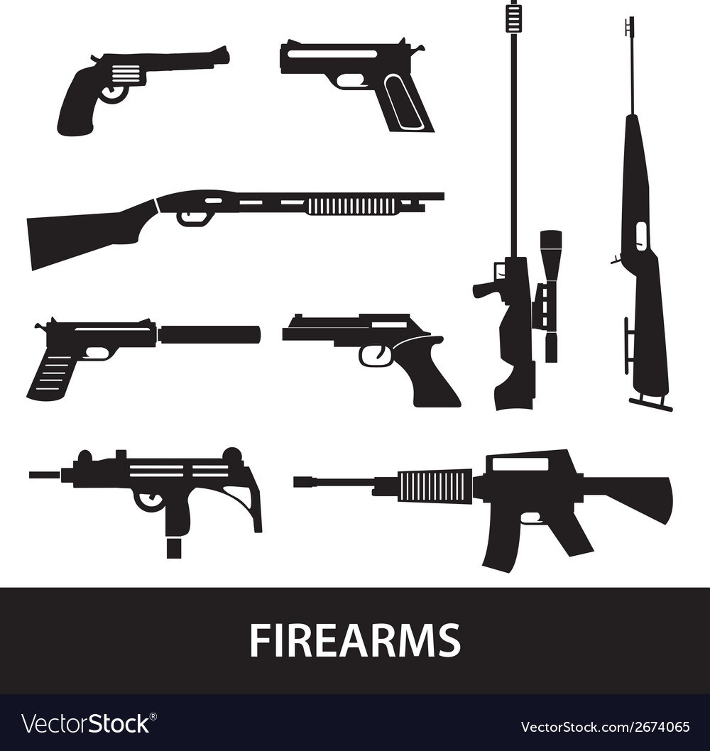 Firearms weapons and guns icons eps10 vector