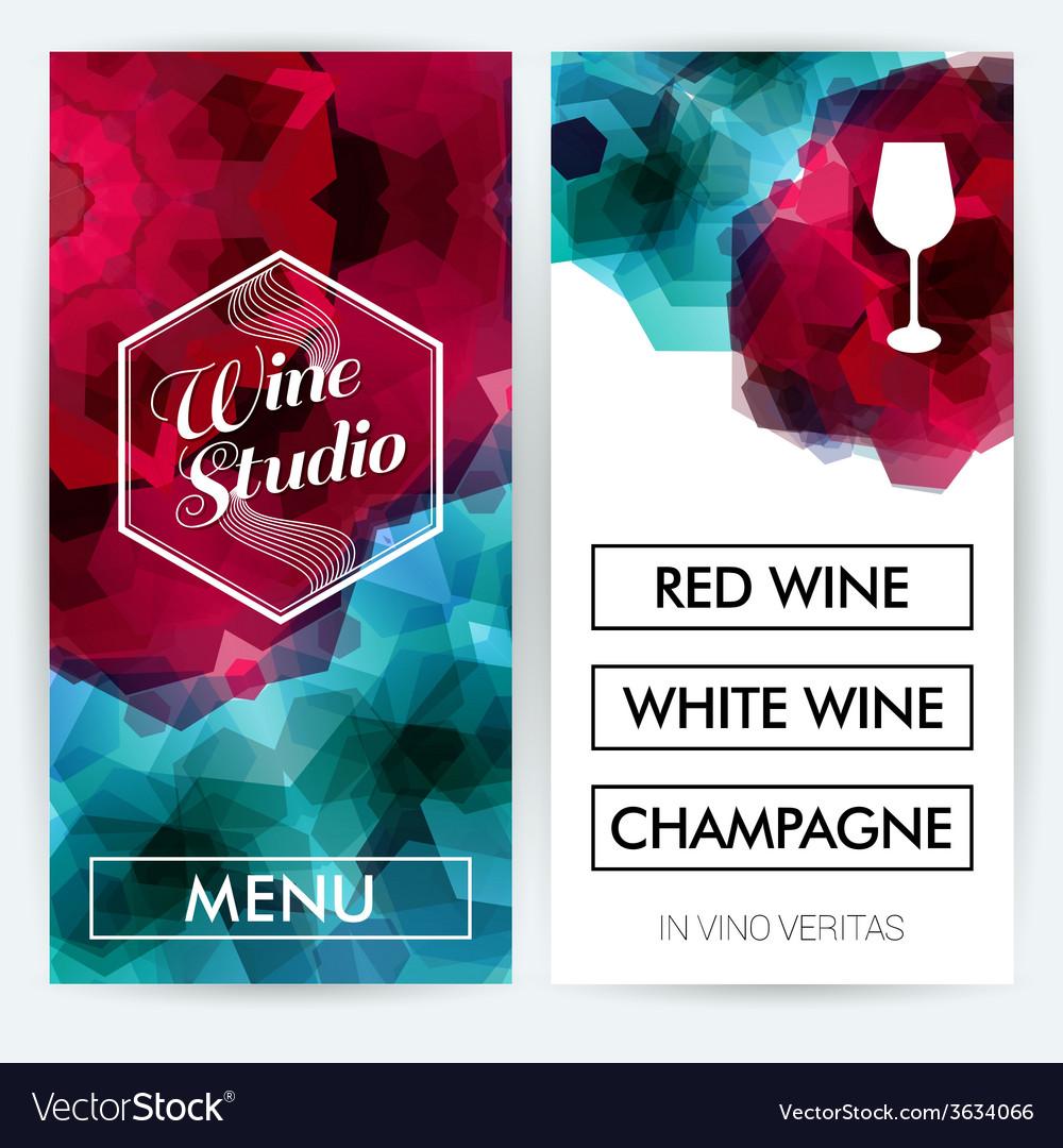 Menu cards for wine studio vector