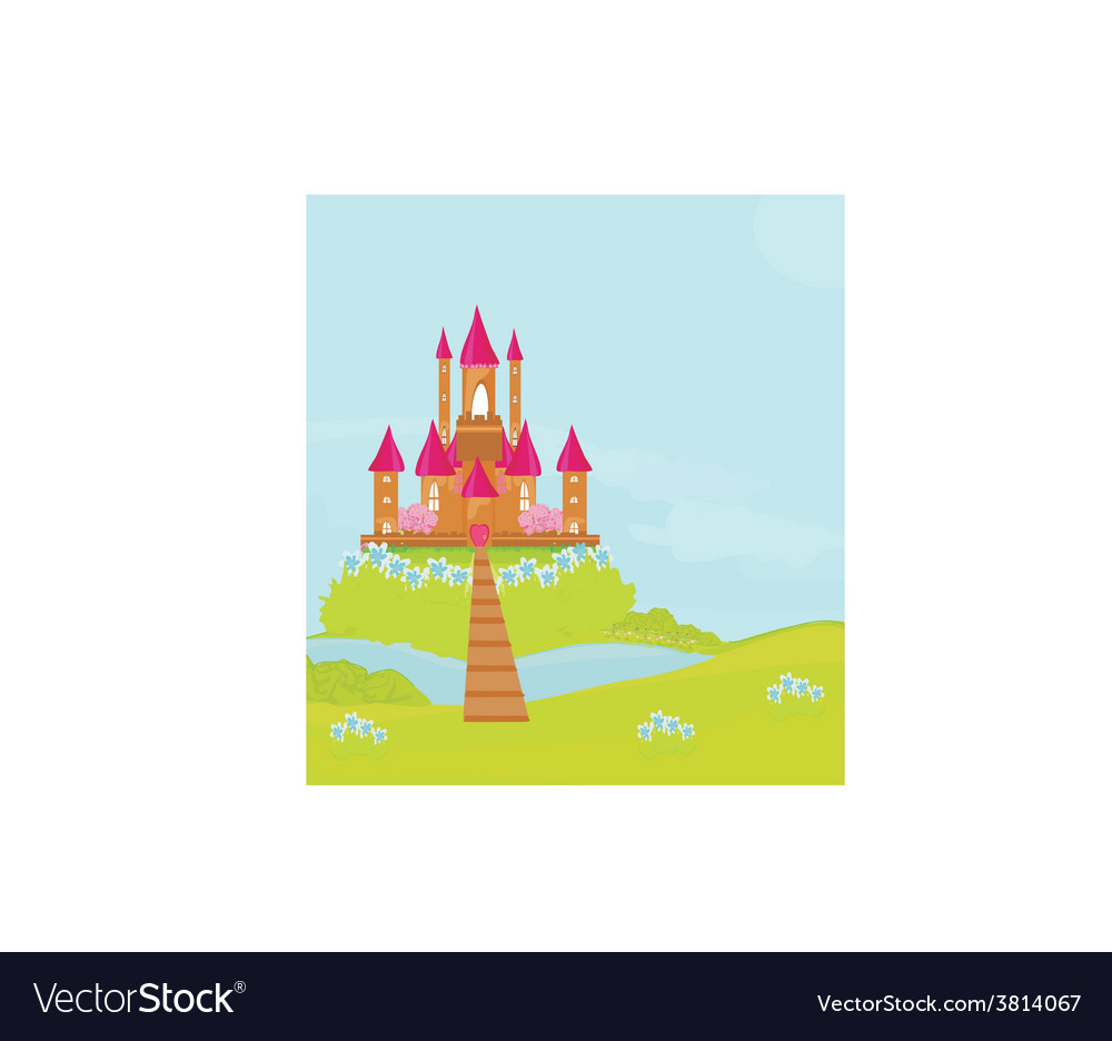 Brown princess castle on the river vector