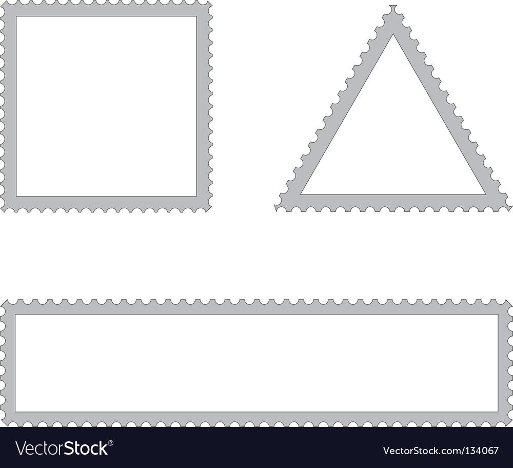 Set of empty postal stamps vector