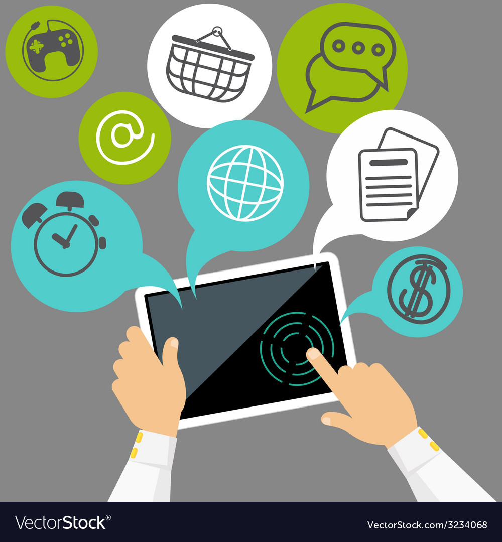 Hands holding digital tablet with application vector
