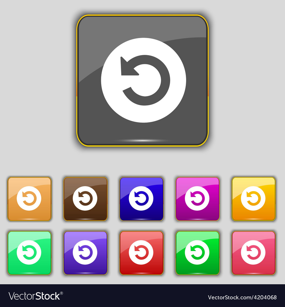 Icon sign set with eleven colored buttons for your vector
