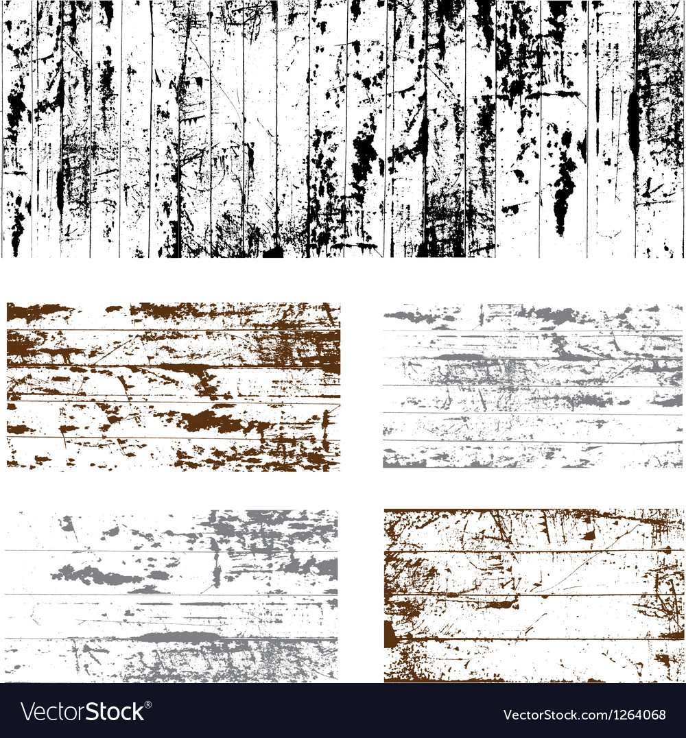 Wooden grunge set vector