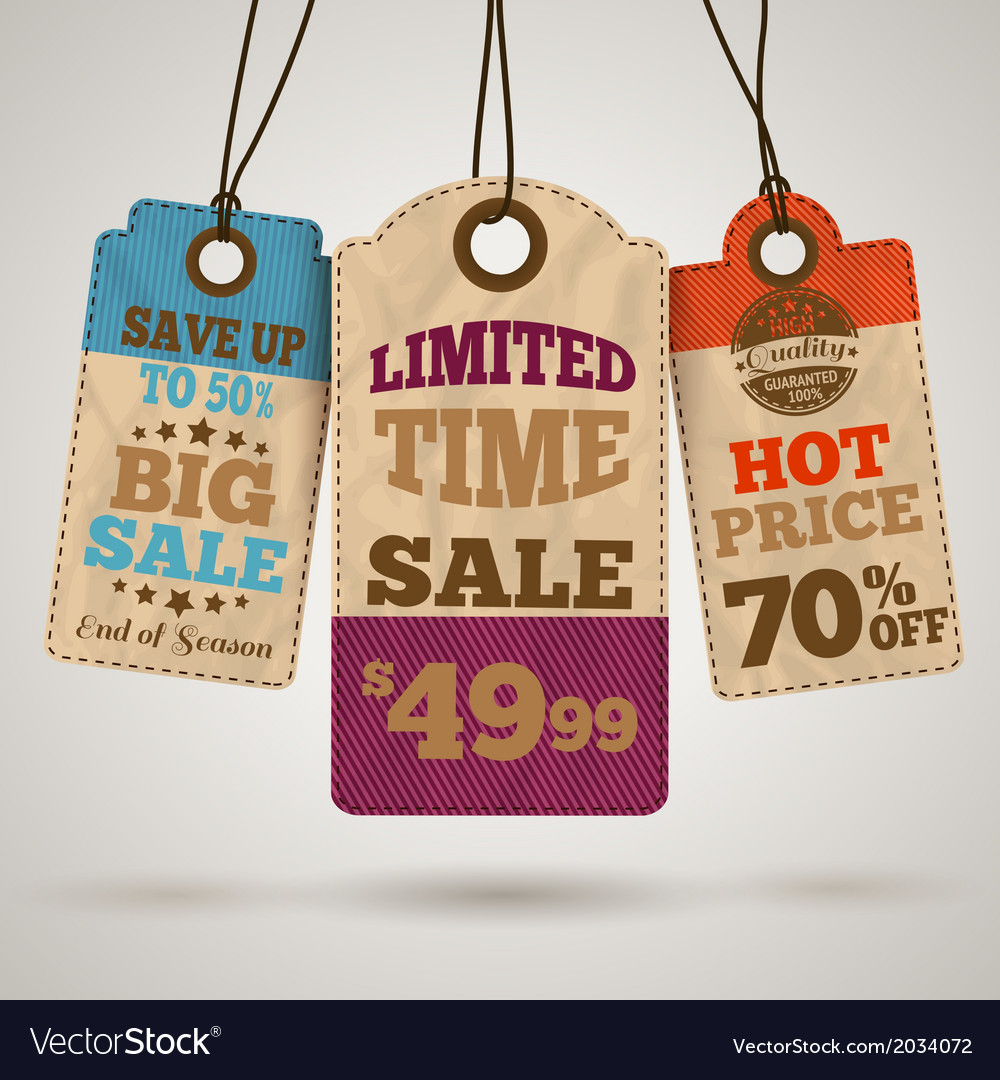 Cardboard sale promotion tags vector