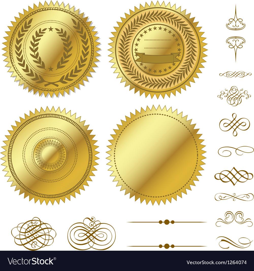 Gold seal set vector