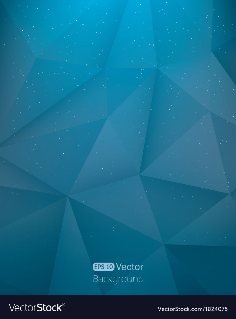 Abstract dark blue triangle in space background vector