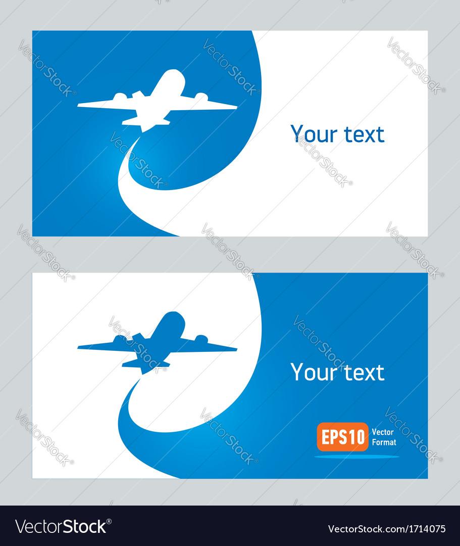 Airplane flight tickets air fly cloud sky blue vector