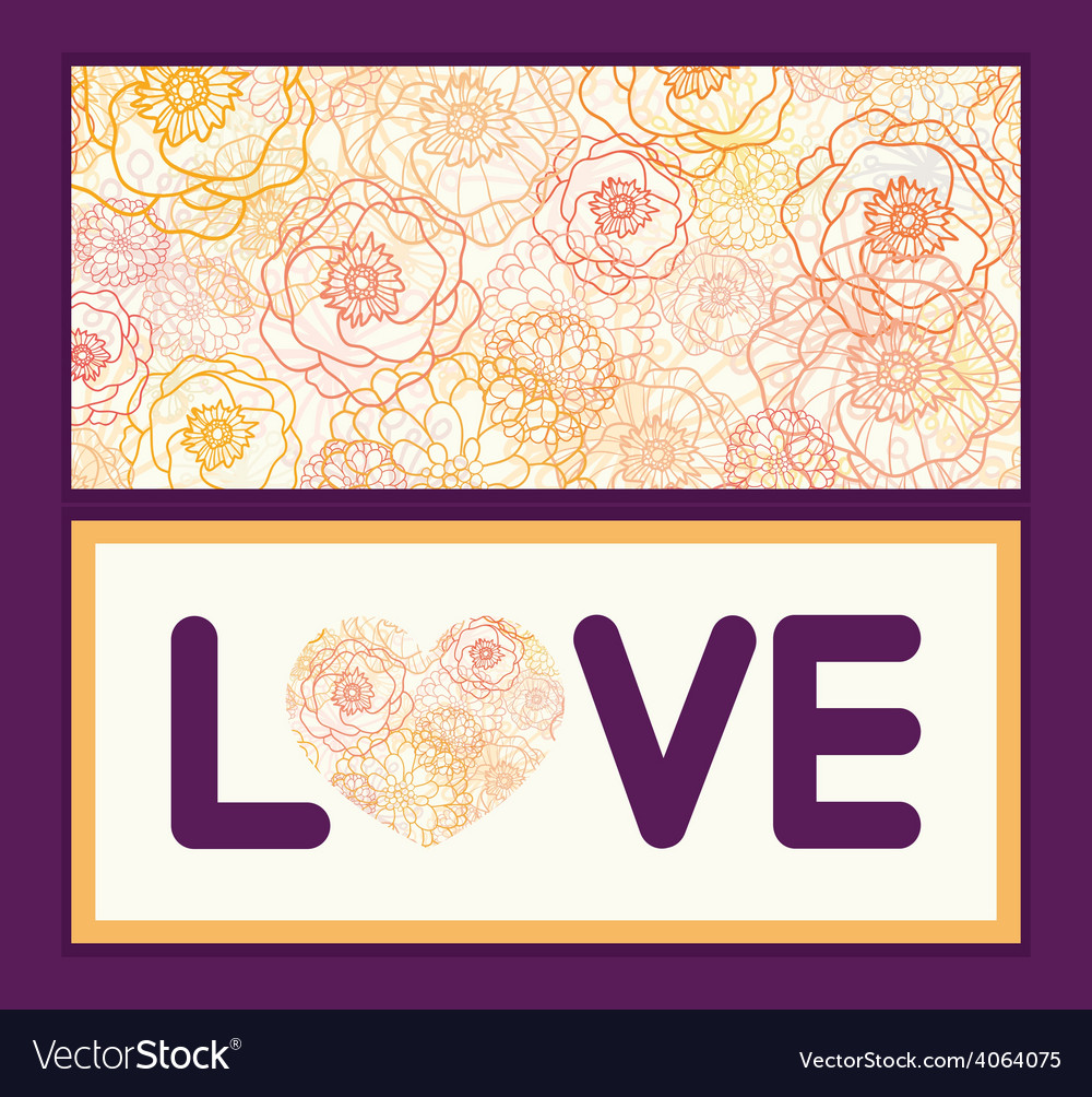 Warm flowers love text frame pattern vector