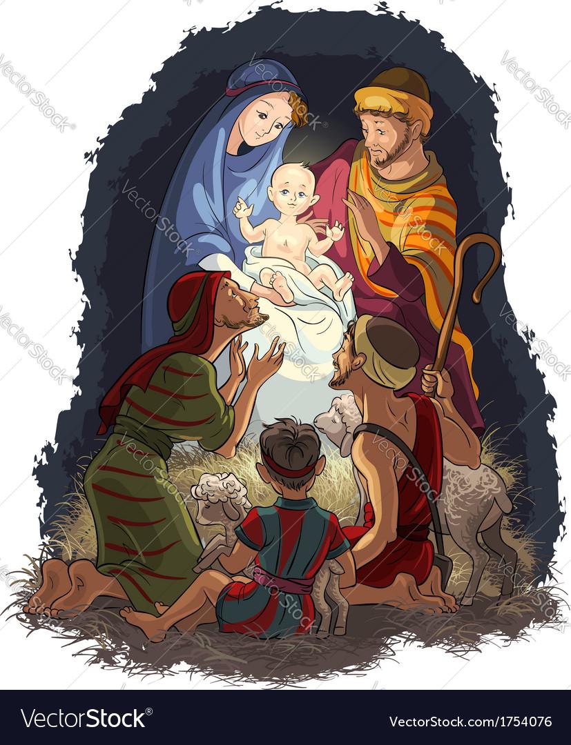 Nativity scene jesus mary joseph shepherds vector