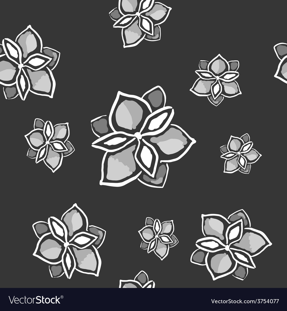 Magnolia seamless monochrome pattern on dark vector