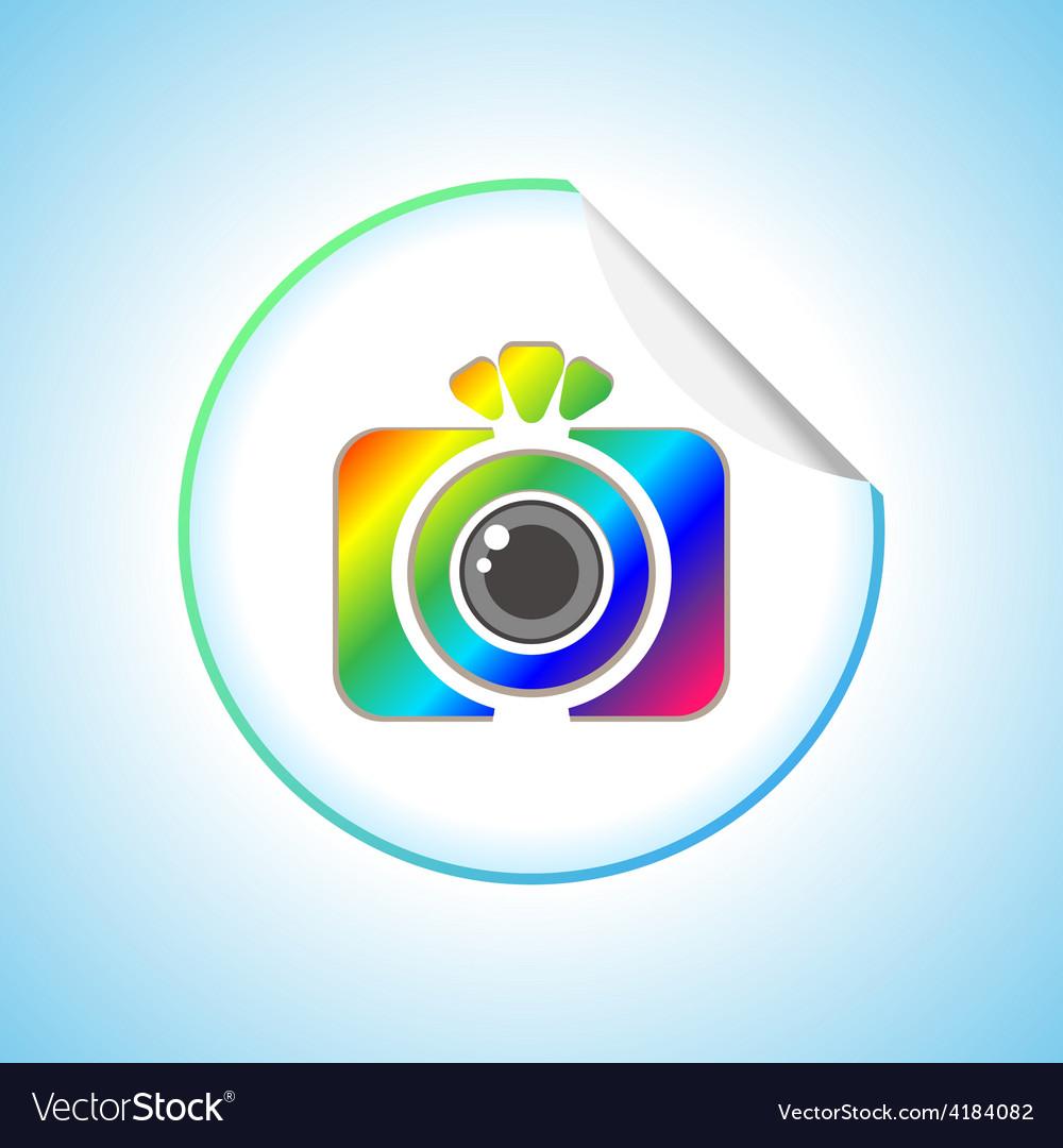 Photo camera sign round sticker vector