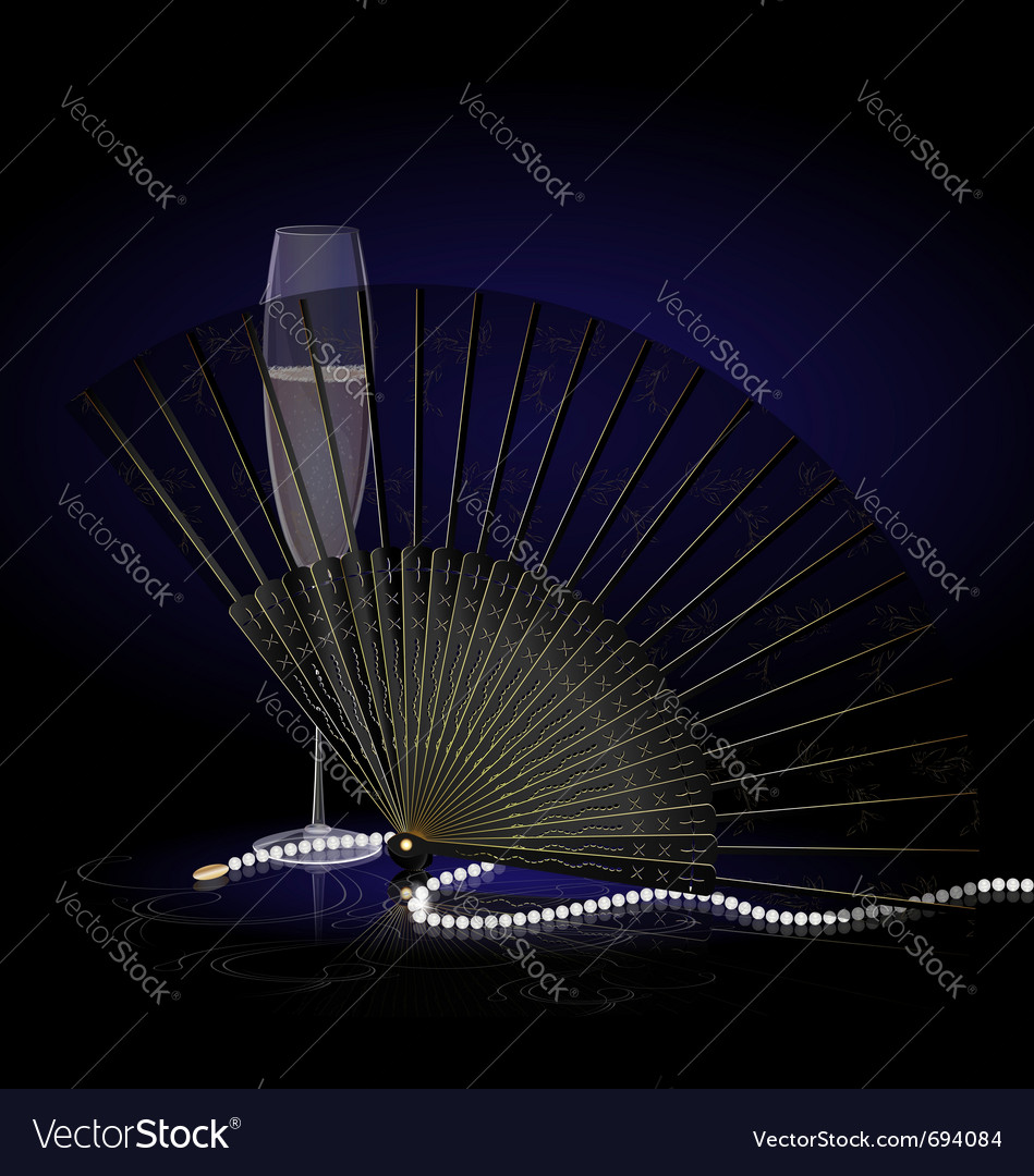 Black fan and champagne vector