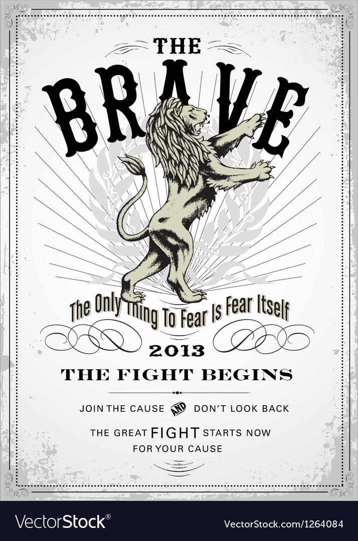 Vintage lion poster vector