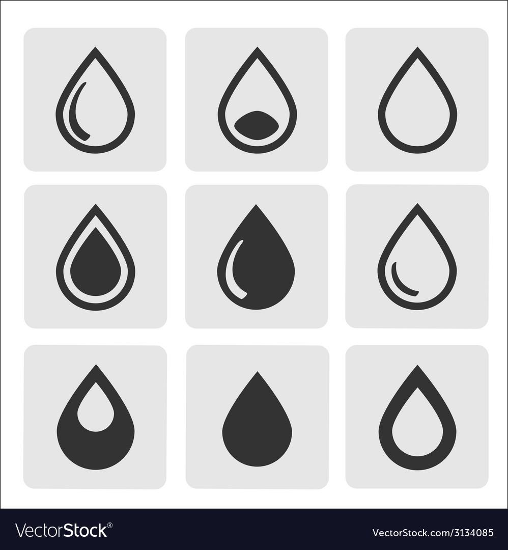 Black drop icons vector