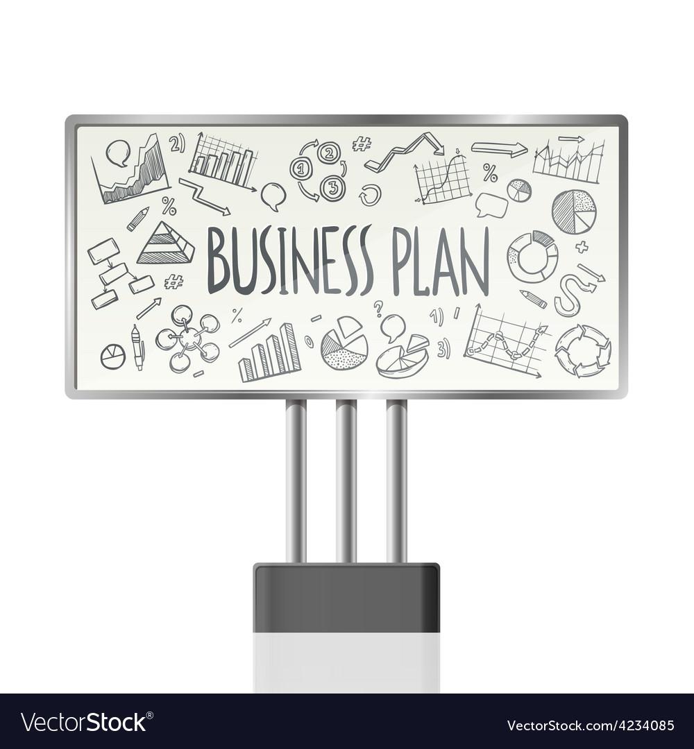 Business charts in billboard vector