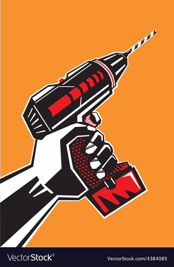 Hand with a drill vector