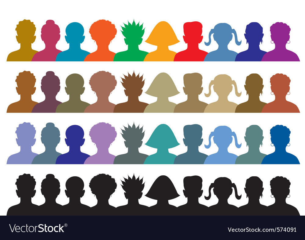 Silhouettes of crowd vector