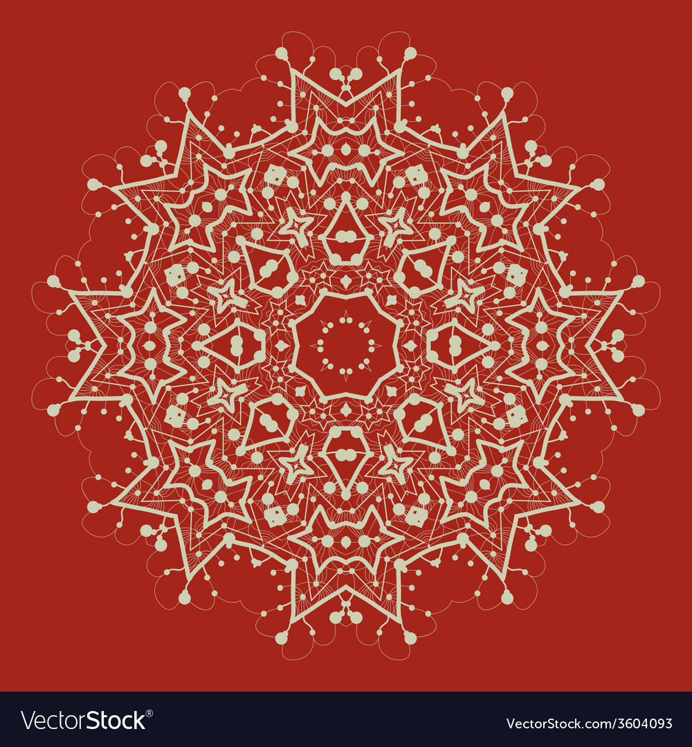 Mandala on red art vintage decorative elements vector