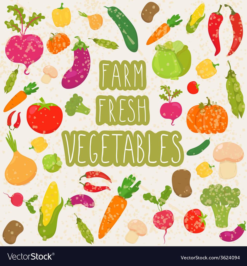 Farm fresh vegetables healthy food vector