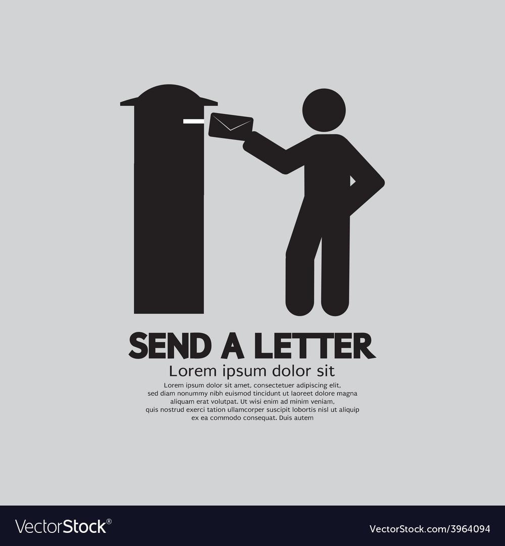 Man sending a letter graphic symbol vector