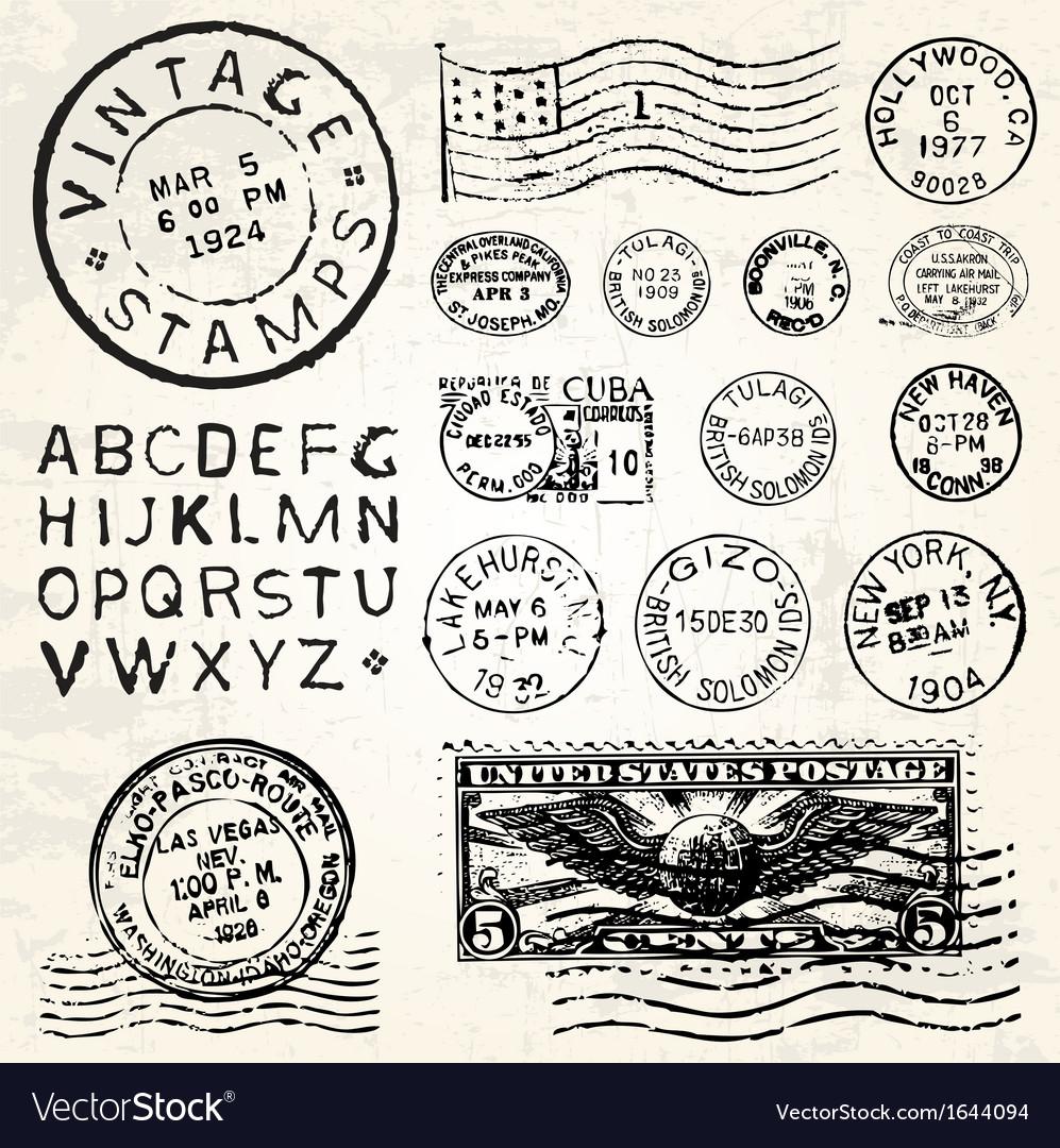 Vintage stamp set vector