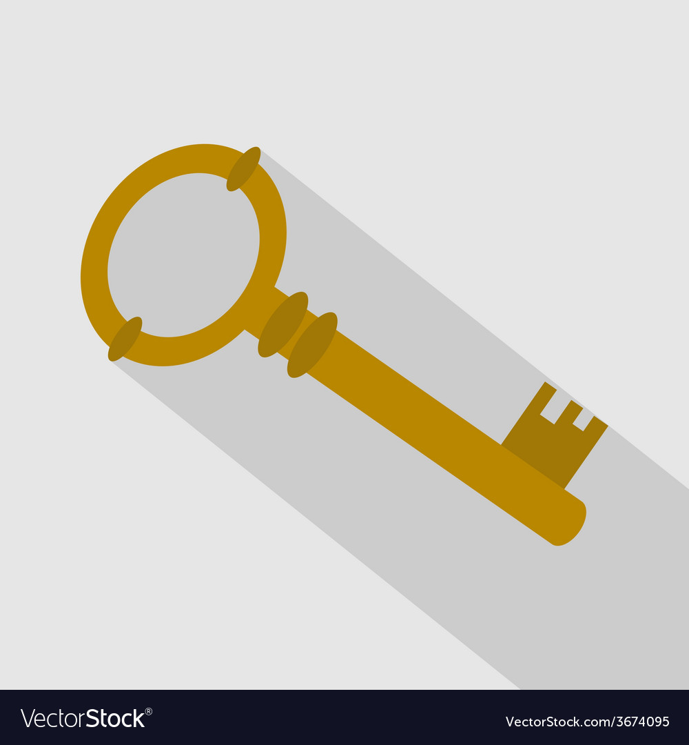 Key icon with long shadow vector