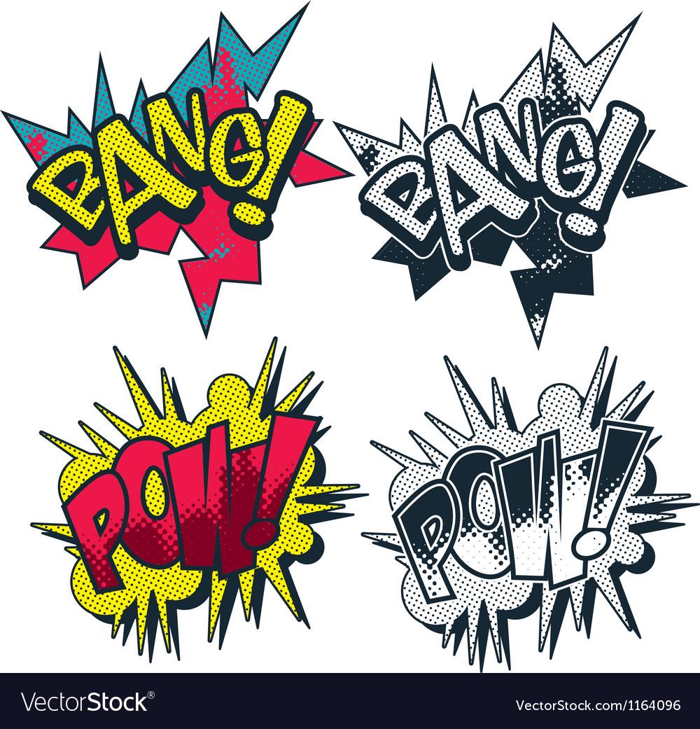 Bang pow comic style graphic vector