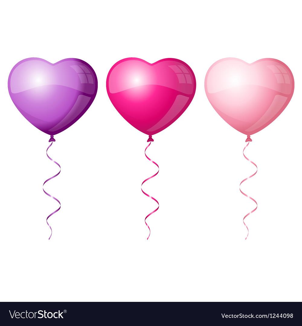 Colorful heart balloons vector