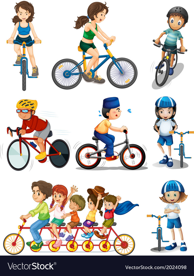 People biking vector