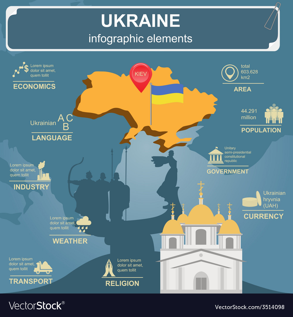 Ukraine infographics statistical data sights vector