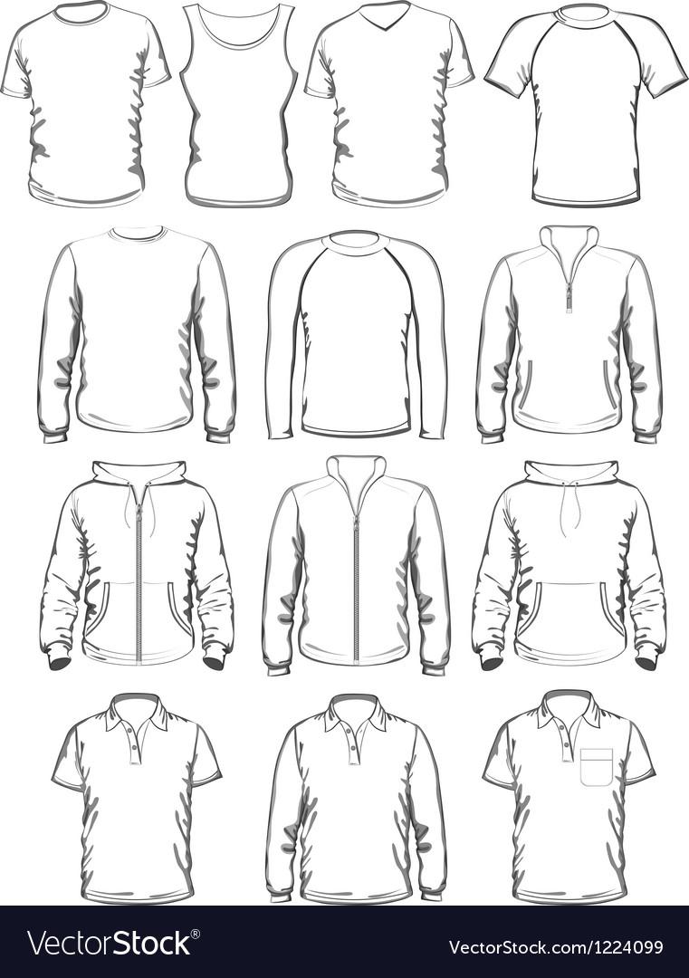 Collection of men clothes outline templates vector
