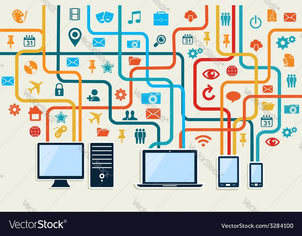 Social media devices connection concept vector