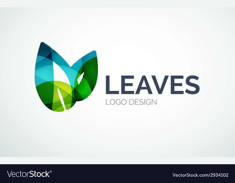 Eco leaves logo design made of color pieces vector