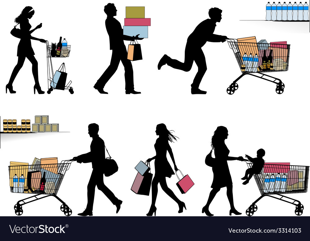 Several people are shopping vector