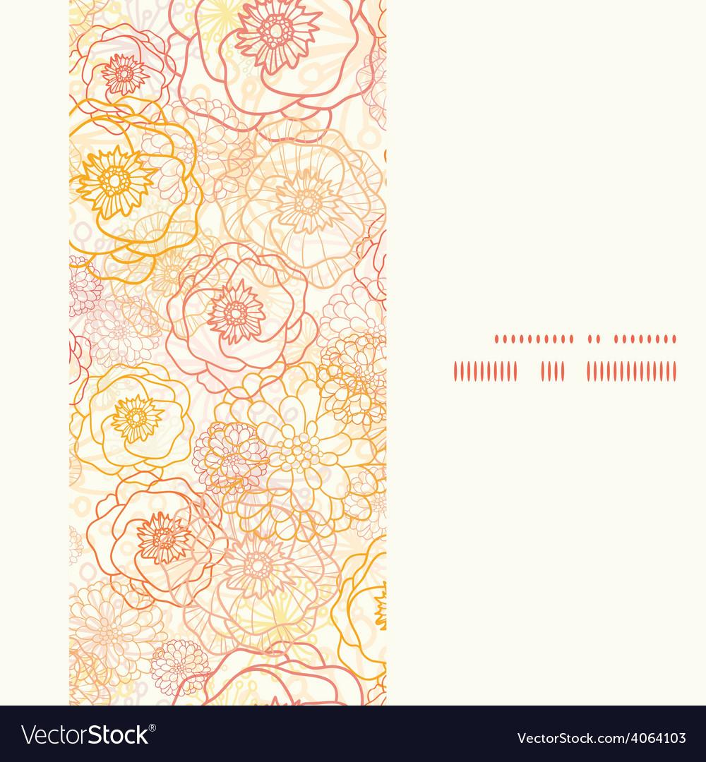 Warm flowers vertical frame seamless vector