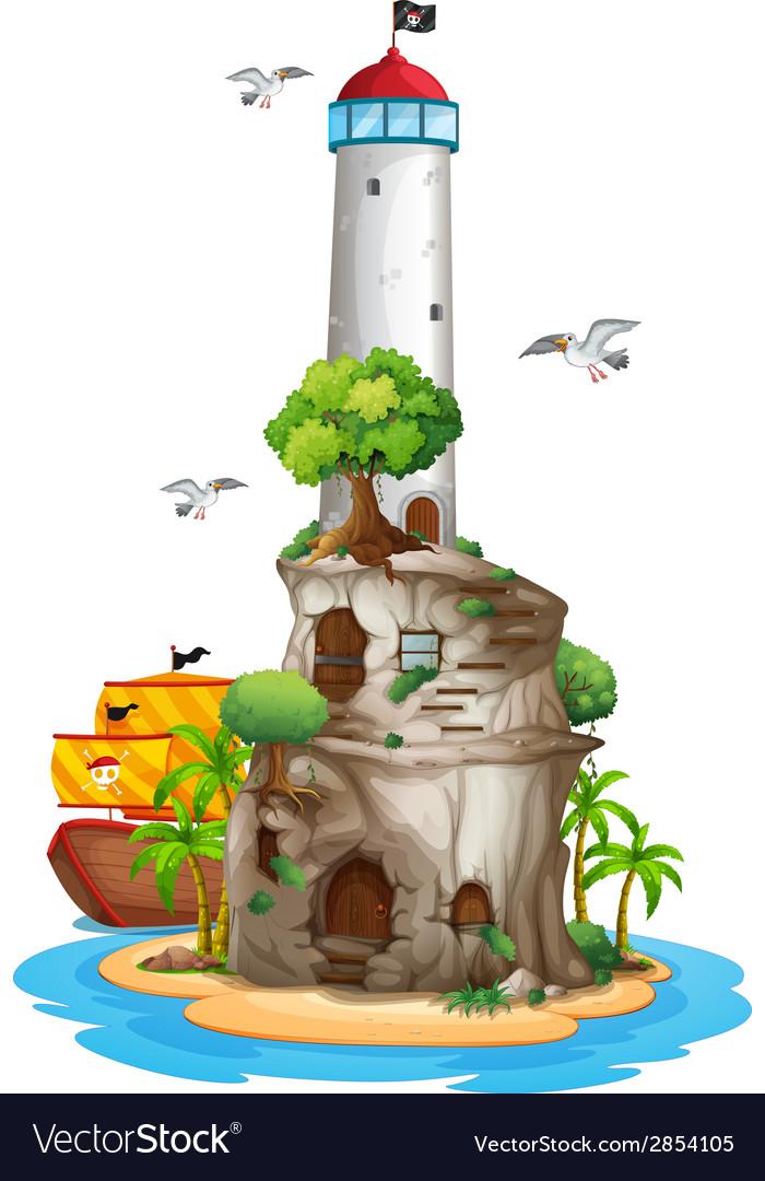 Lighthouse on island vector
