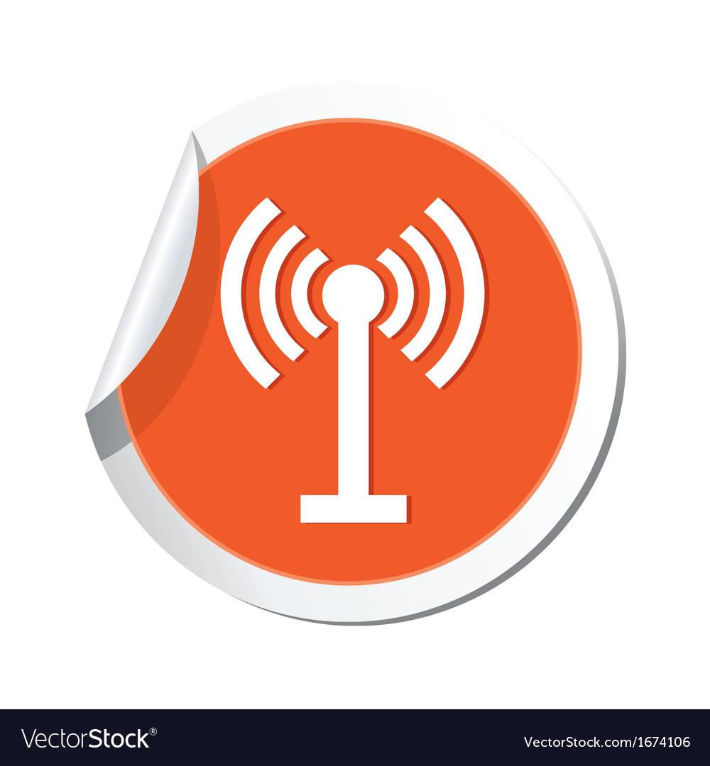 Wi fi icon orange sticker vector