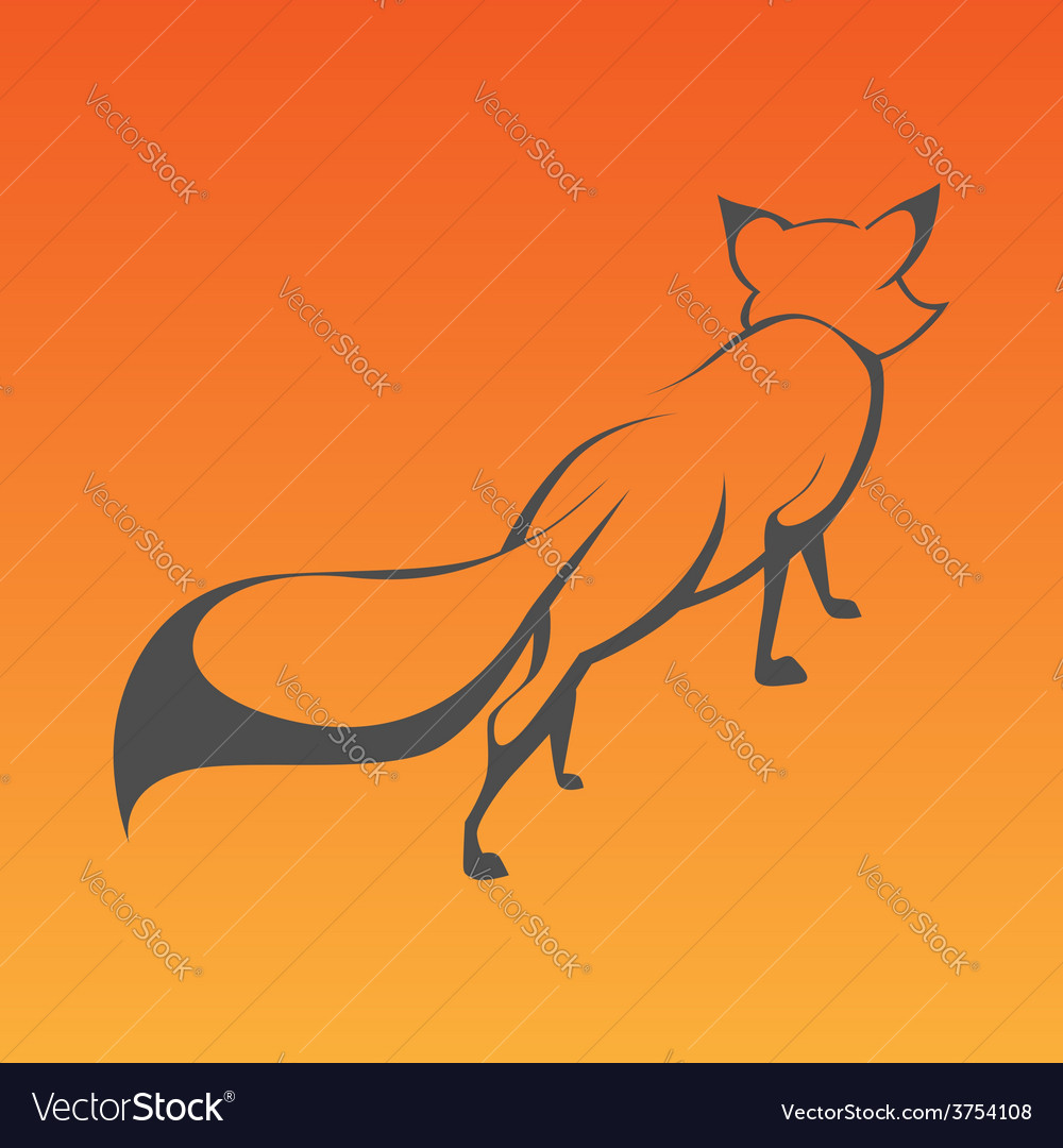 Fox sign in curve lines vector
