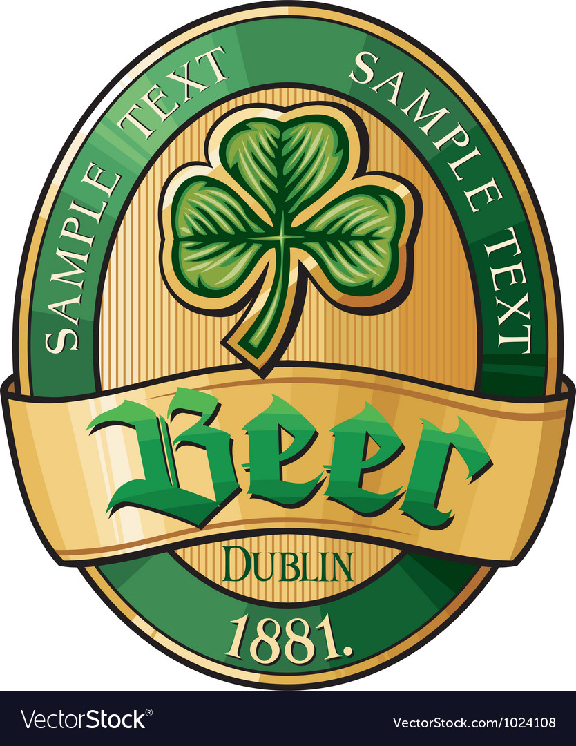 Irish beer label vector