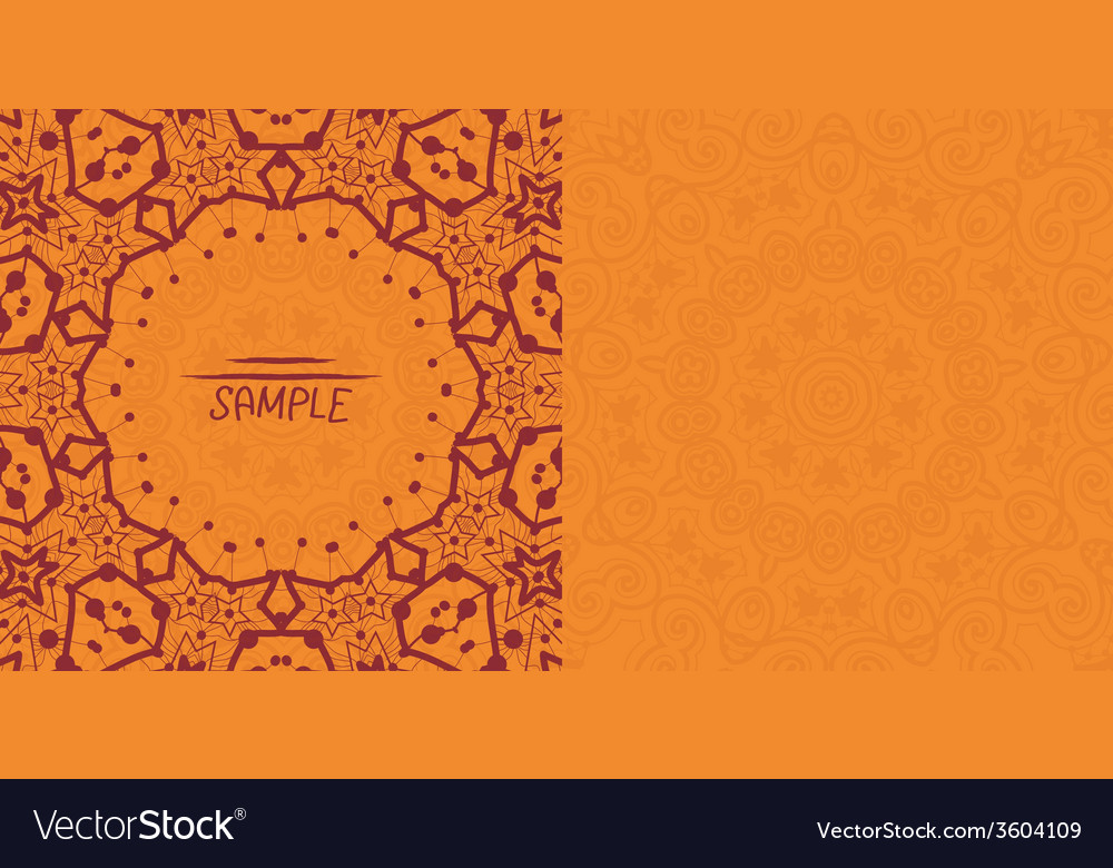 Henna orange antique banner template mehndi vector