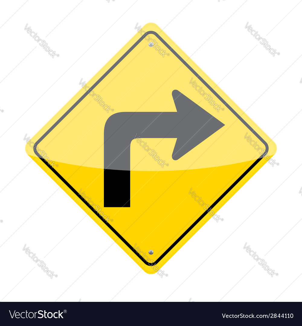 Right turn sign vector