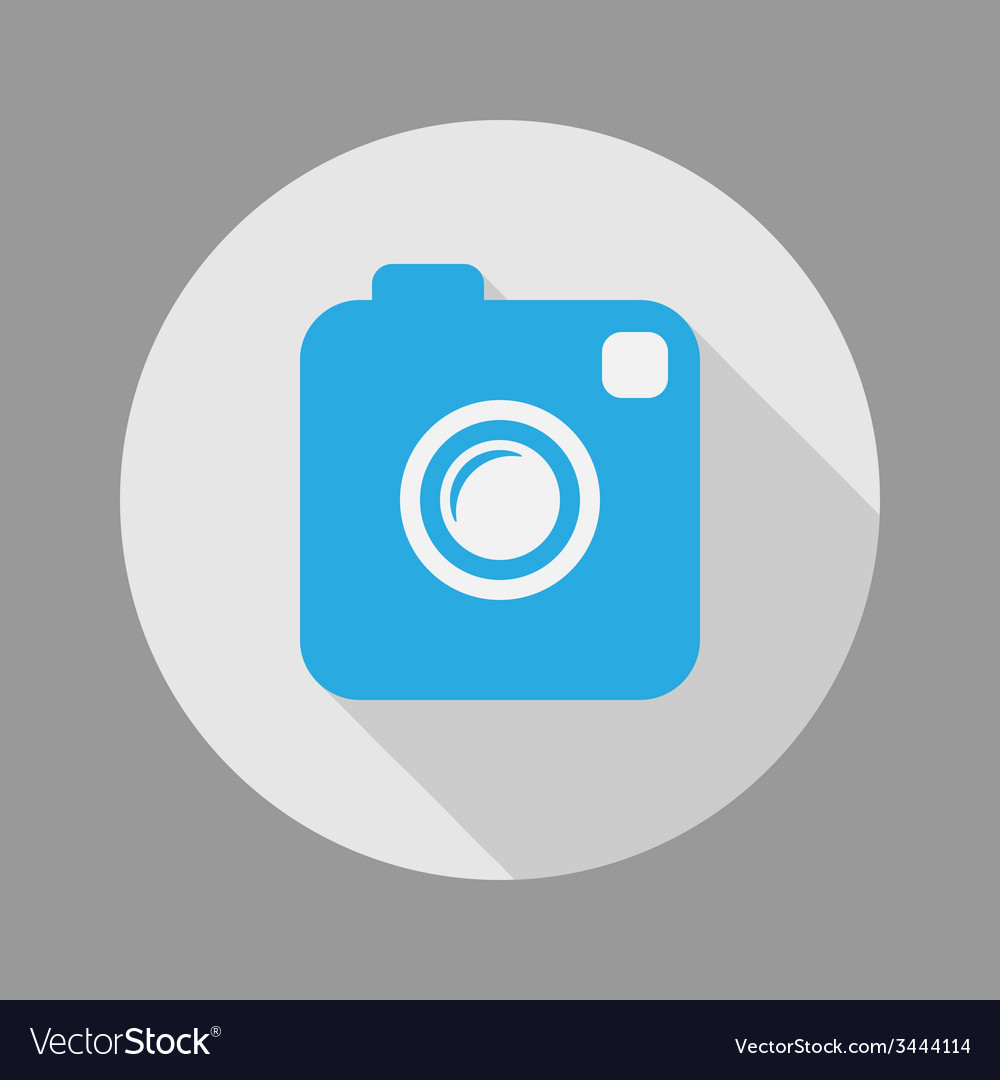 Photo or video camera flat style with long shadow vector