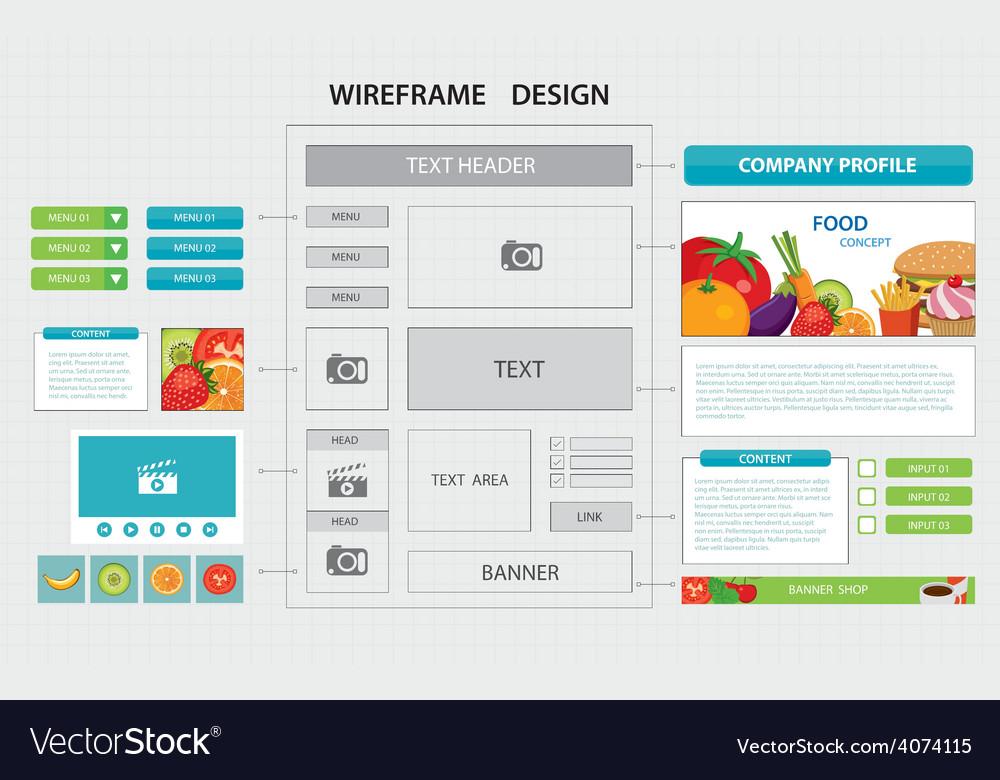 Flat website wireframe template vector